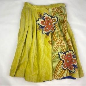 Elevenses Boho Velvet Embroidered Skirt